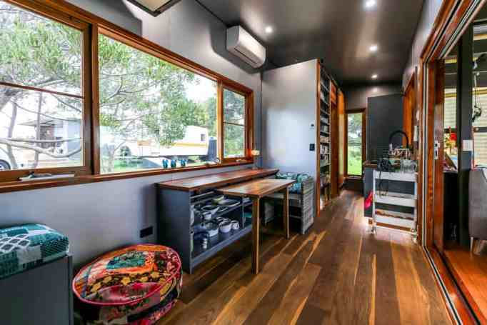 The kitchen of an elderly-, disability-, and mobility-friendly tiny home