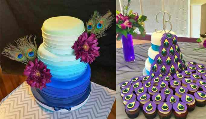 Different versions of the peacock cake by Malizzi Cakes & Pastries