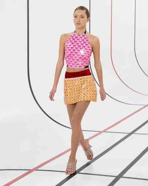 Lila Grace Moss walking the runway for Miu Miu during the Paris Fashion Week