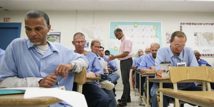 Inmates during class