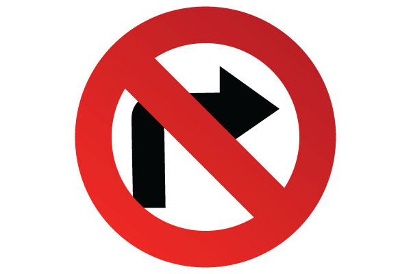 NPrintable No Right Turn Sign