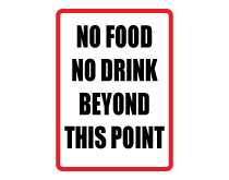 No food drink beyond point sign thumb