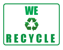 We recycle sign thumb