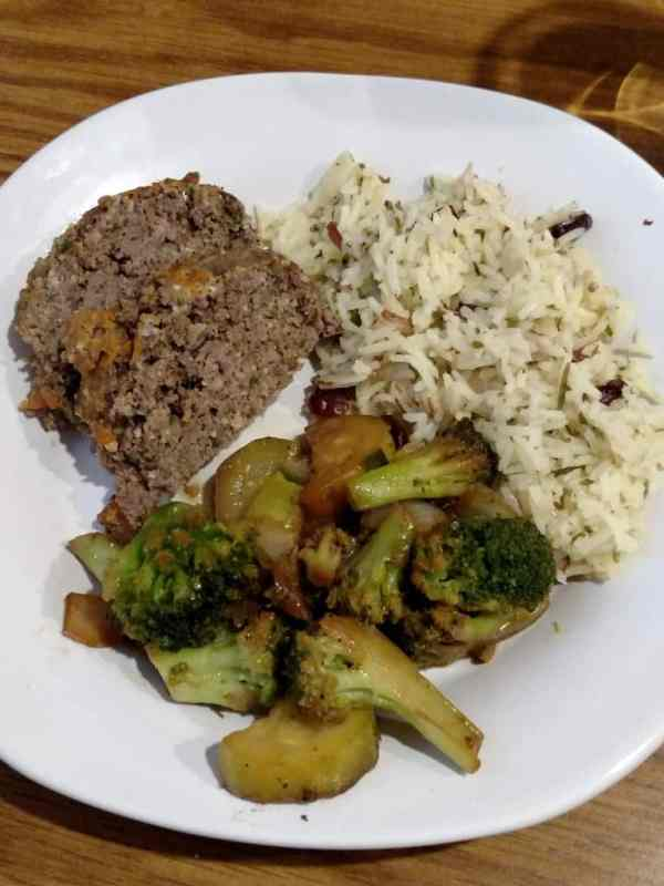 Simple Vegetable Stir Fry on a plate with Paleo meatloaf and rice