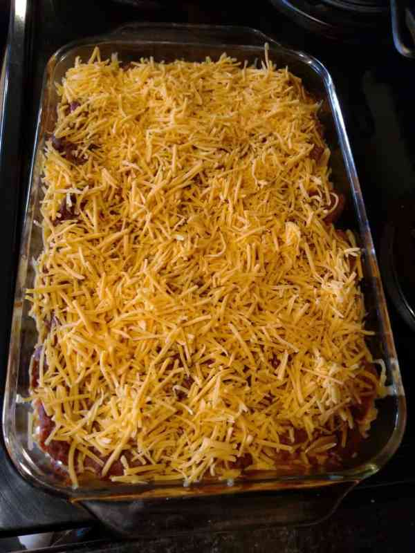 cheese added to top of casserole