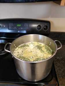 pot of chicken broth