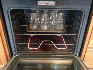 canning jars in oven