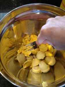 mashing yolks
