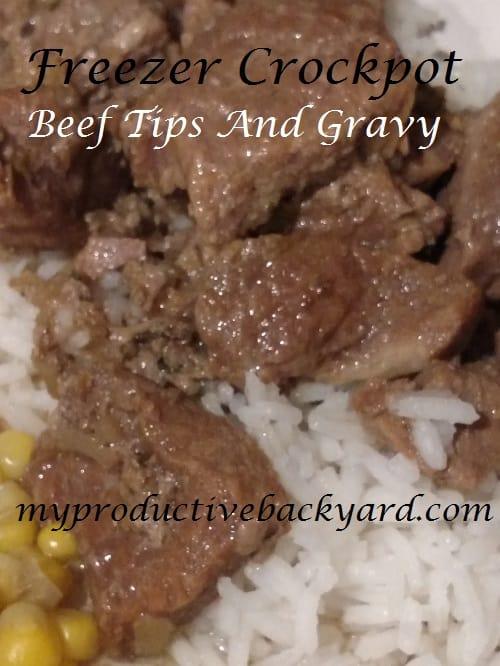 Freezer Crockpot Beef Tips and Gravy