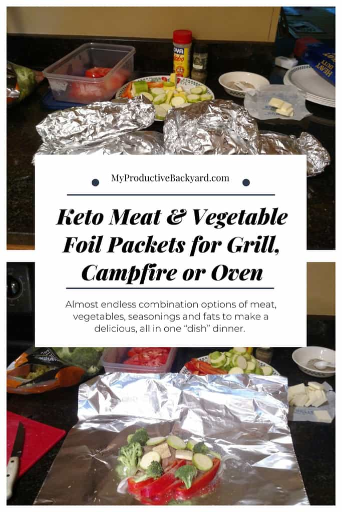 Keto Meat and Vegetable Foil Packets for Grill, Campfire or Oven pinterest pin
