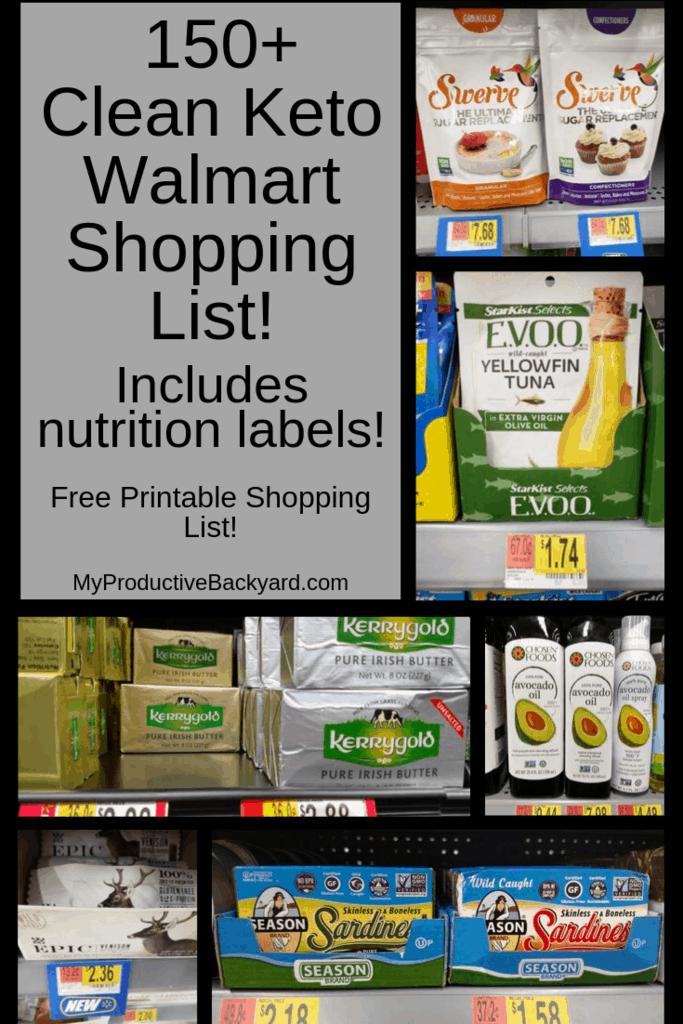 Clean Keto Walmart Shopping List collage