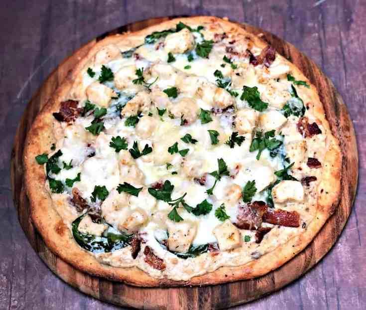 Keto Low-Carb Bacon, Chicken, Spinach Alfredo Fathead Pizza
