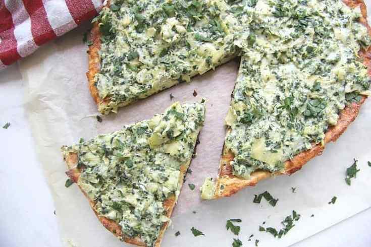 Keto Spinach Artichoke Pizza