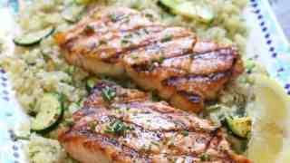 Grilled Salmon with Cauliflower Rice (and how to get those grill marks!)