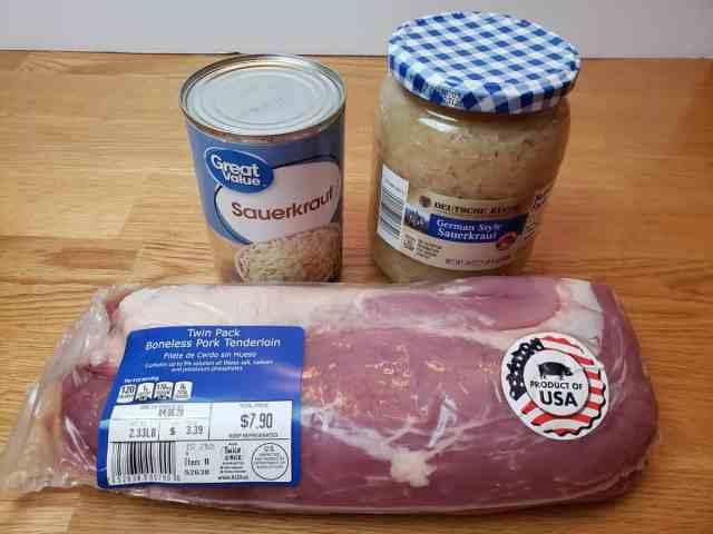 ingredients for Crock Pot Pork and Sauerkraut