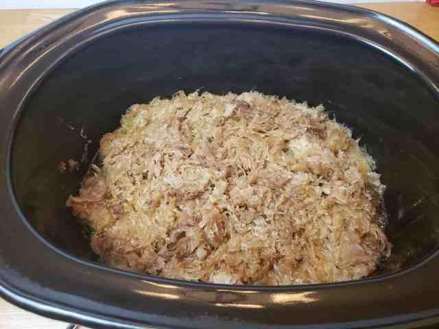 Crock Pot Pork and Sauerkraut in crock pot