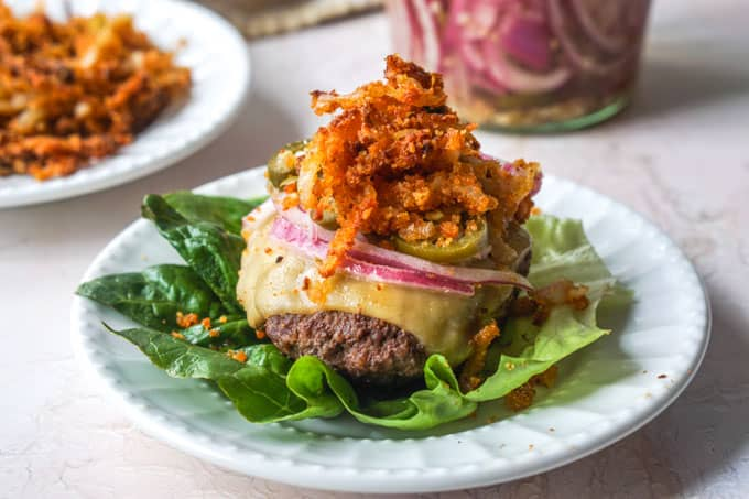 Keto Butter Burgers and Air Fryer Onion Straws (low carb, gluten free)