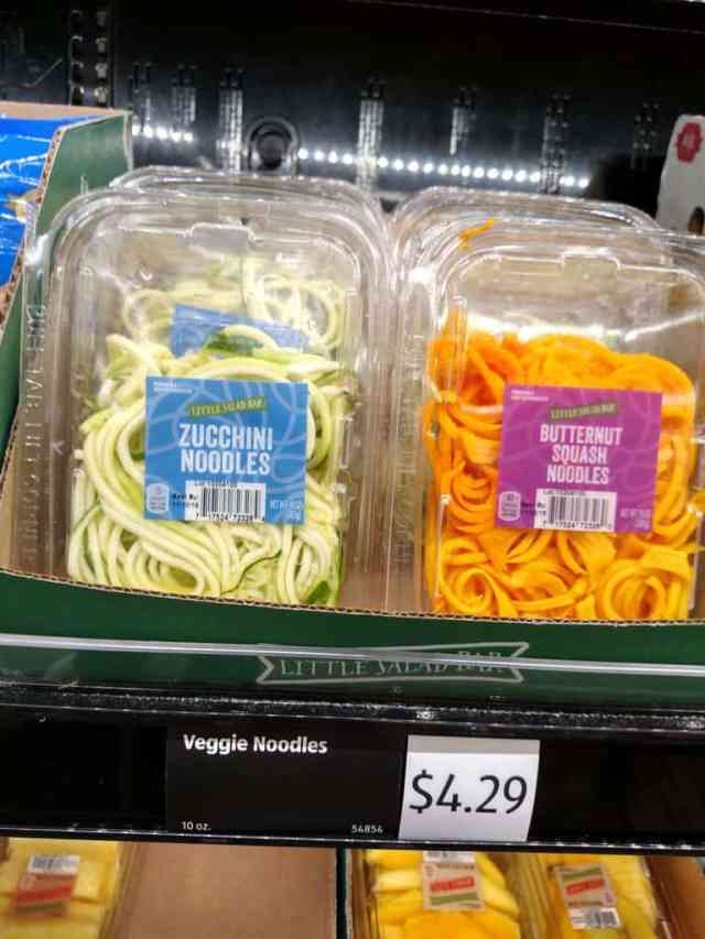 Zucchini and butternut squash noodles in store