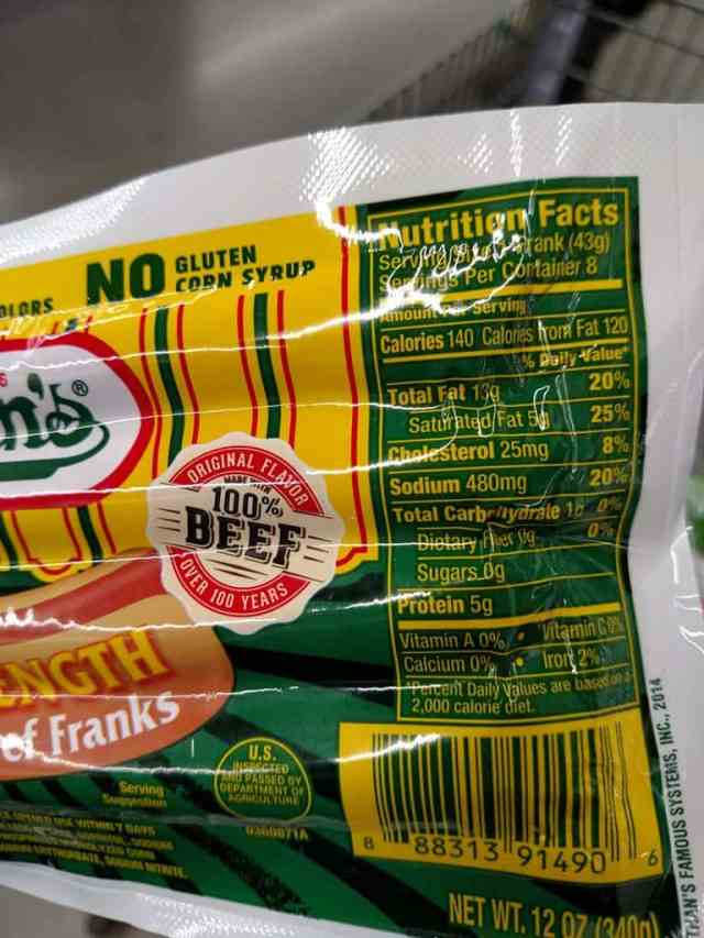 Nathan's Hot Dogs label