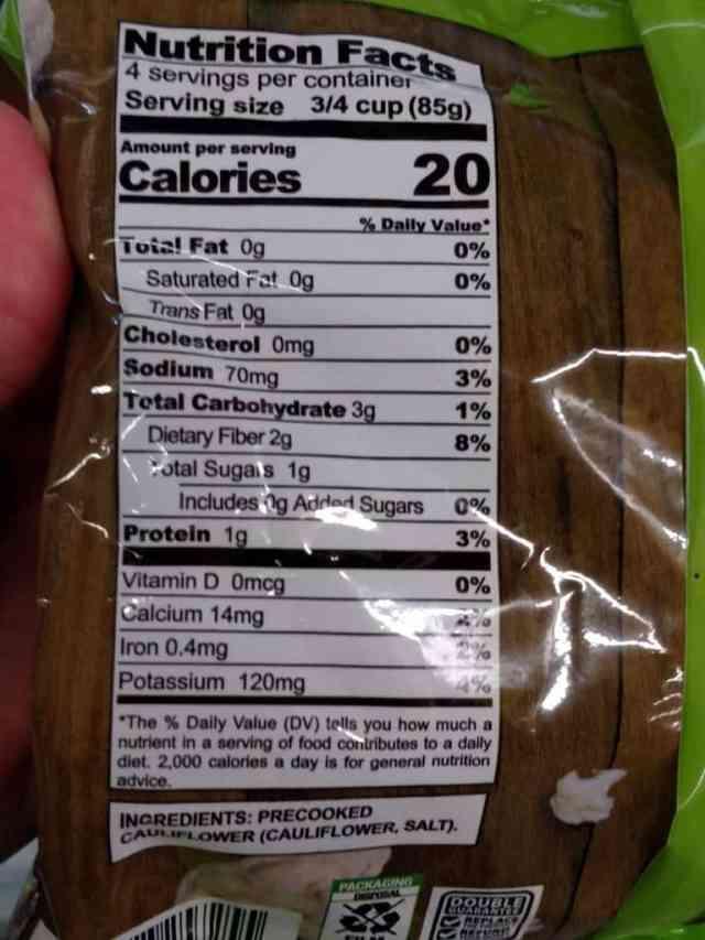 Riced Cauliflower label