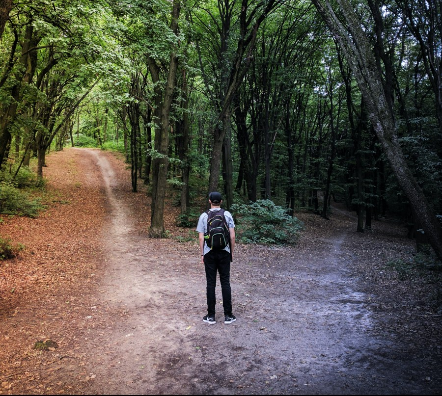 Image of a man trying to choose which path to take