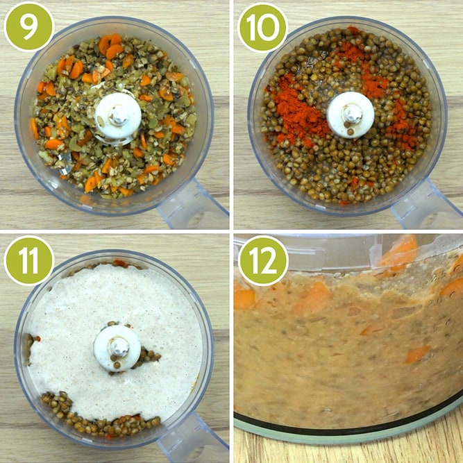 4 photo collage showing a food processor from above with ingredients like chopped carrots, lentils, white buckwheat paste, chopped mushrooms