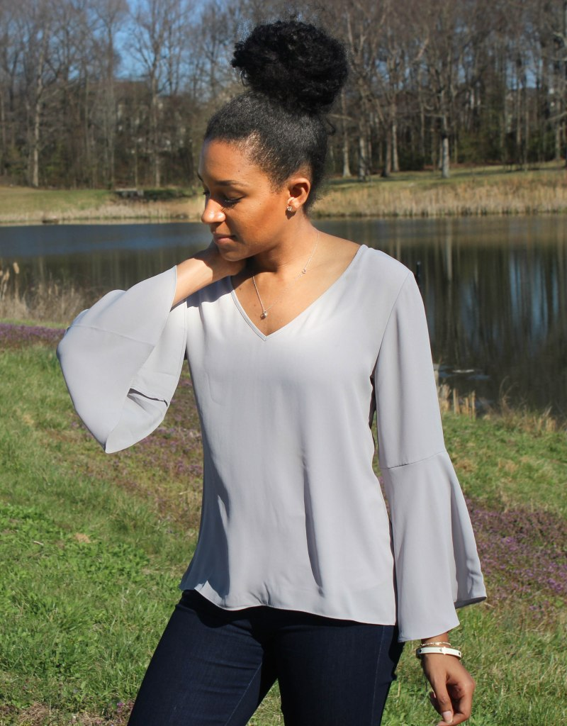 Gray Flutter Sleeve and Jeans-10