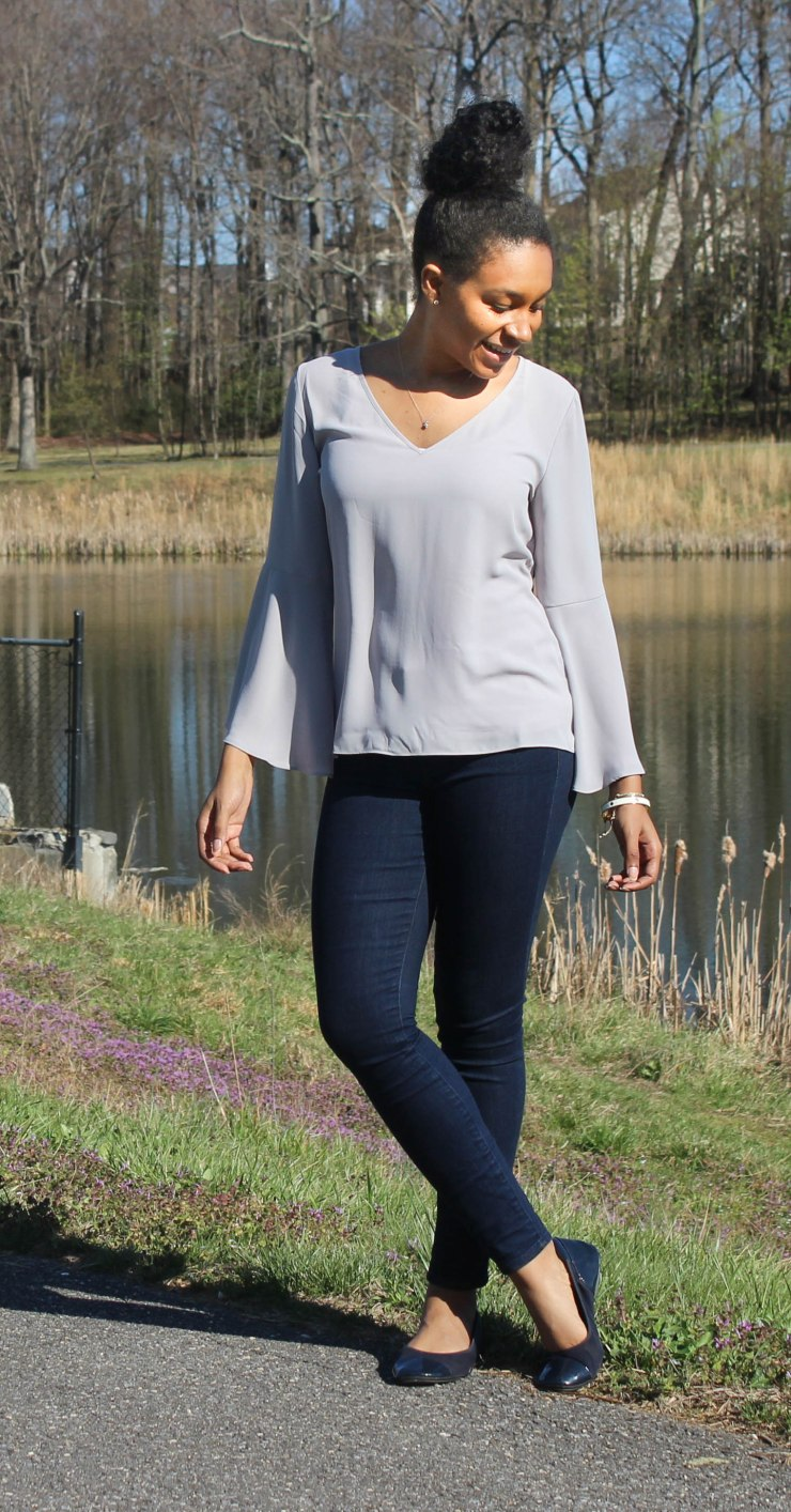 Gray Flutter Sleeve and Jeans-3