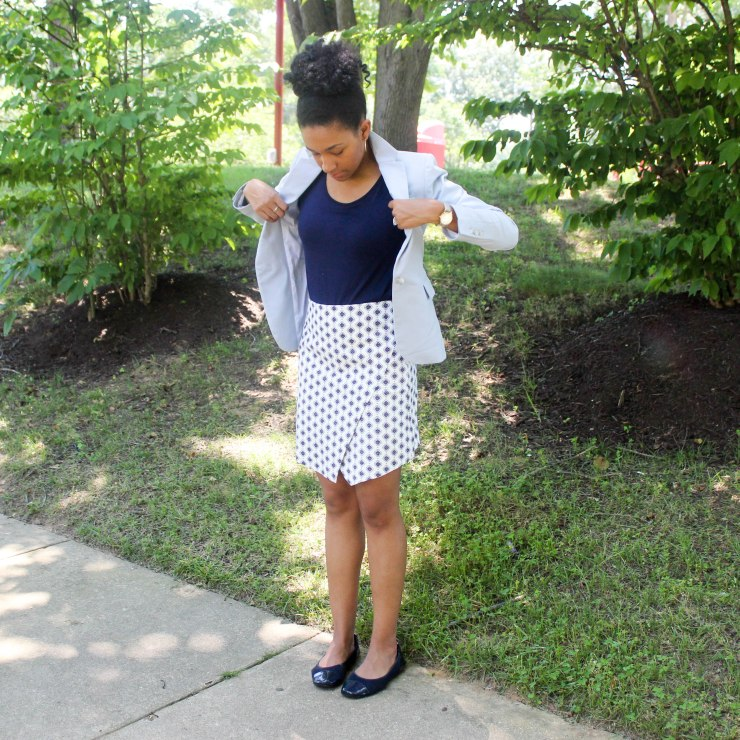 Ann Taylor Loft Skirt and Navy Top