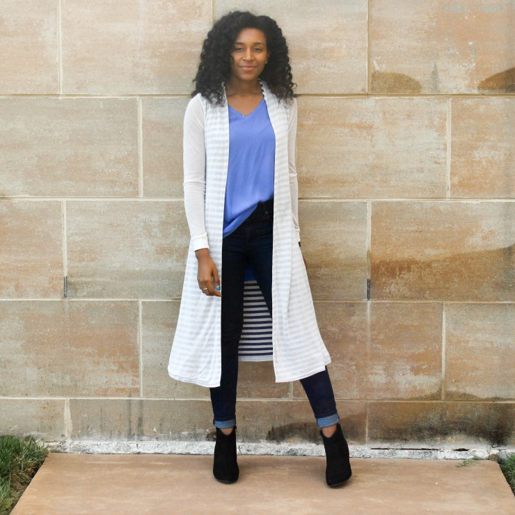 Long Cardi with a Blue Tank-2-2