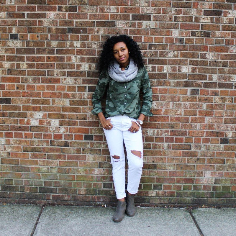 Army Shirt with White Pants-4377