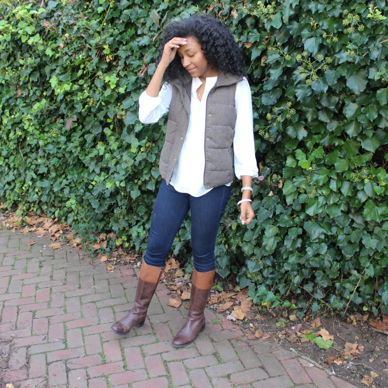 Brown Puffer Vest with Riding Boots-3312