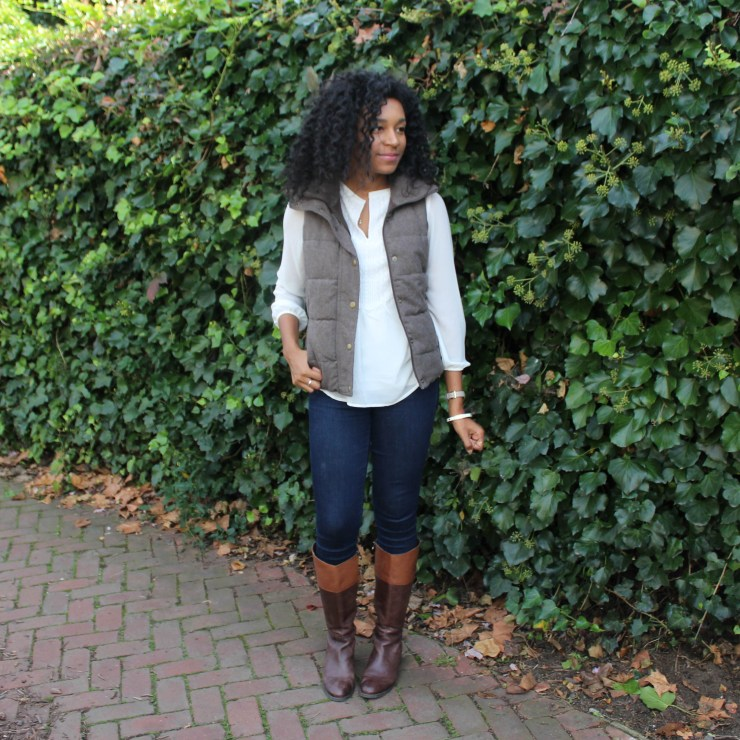 Brown Puffer Vest with Riding Boots-3334
