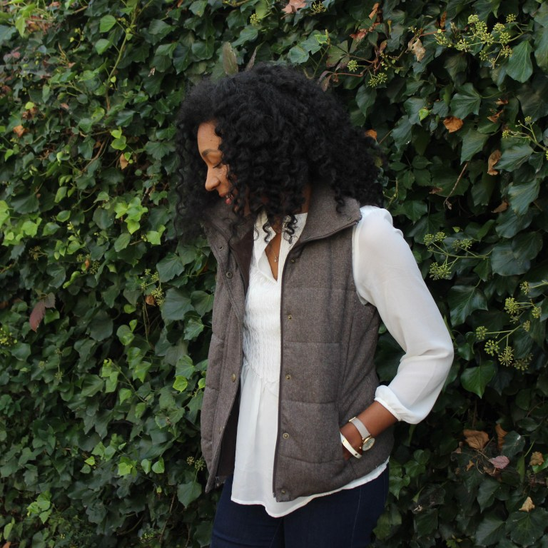 Brown Puffer Vest with Riding Boots-3391