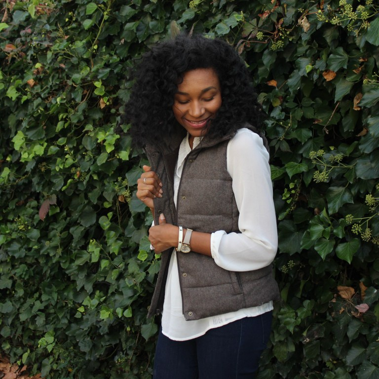 Brown Puffer Vest with Riding Boots-3422