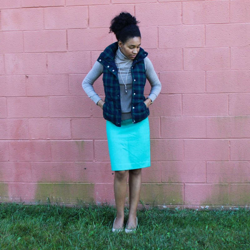 Old Navy Puffer Vest and J-Crew Wool Skirt-5648