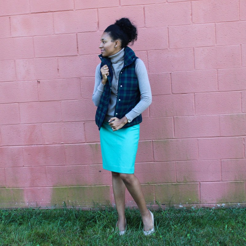 Old Navy Puffer Vest and J-Crew Wool Skirt-5654