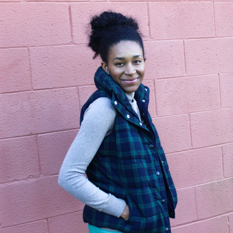 Old Navy Puffer Vest and J-Crew Wool Skirt-5711