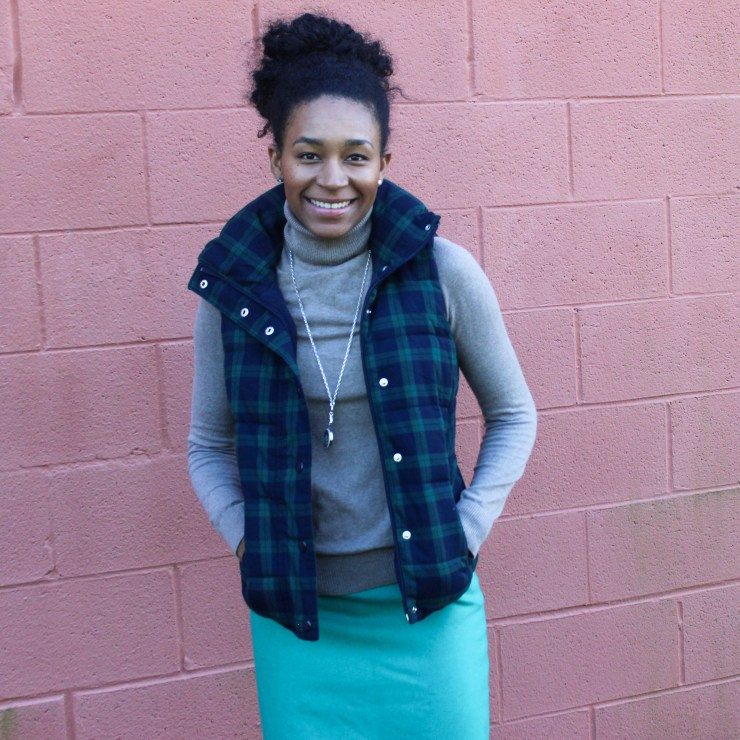 Old Navy Puffer Vest and J-Crew Wool Skirt-5720