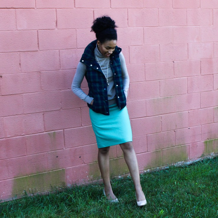 Old Navy Puffer Vest and J-Crew Wool Skirt-5742
