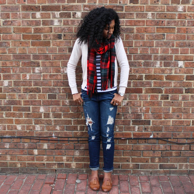 Plaid Scarf with Striped Shirt and Tan Cardigan-4438