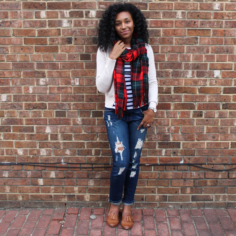 Plaid Scarf with Striped Shirt and Tan Cardigan-4466