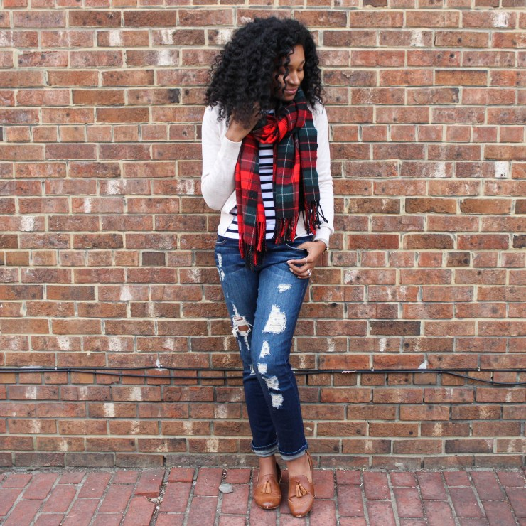Plaid Scarf with Striped Shirt and Tan Cardigan-4474