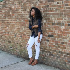 Plaid Shirt Utility Vest and White Jeans-4255