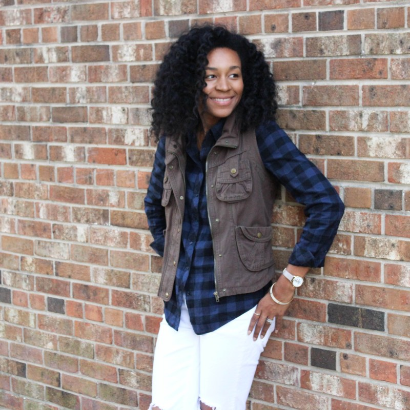 Plaid Shirt Utility Vest and White Jeans-4290