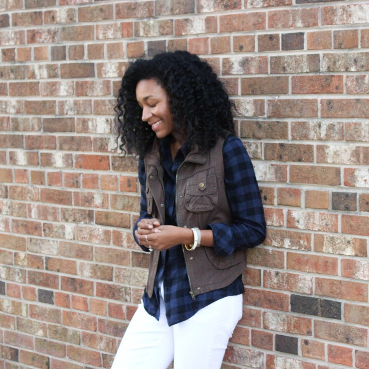 Plaid Shirt Utility Vest and White Jeans-4309