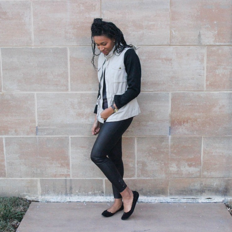 Faux leather leggins with utility jacket-9656