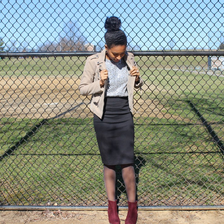 Sequins Tee with Black Skirt and Tan Jacket-2-4