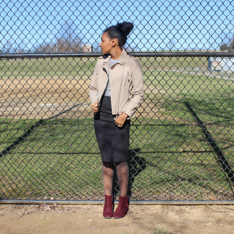 Sequins Tee with Black Skirt and Tan Jacket-2-7