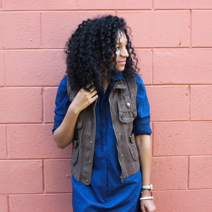 Denim Shirt Dress with Utility Vest-8744